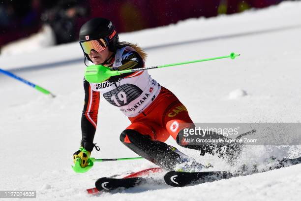 Roni Remme of Canada competes during the Audi FIS Alpine Ski World Cup Women's Alpine Combined on February 24 2019 in Crans Montana Switzerland