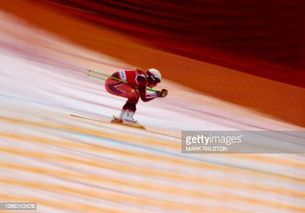 TOPSHOT Roni Remme of Canada skis the final straight during the second training run of the Audi FIS Alpine Ski World Cup Women's 2019 Downhill event...