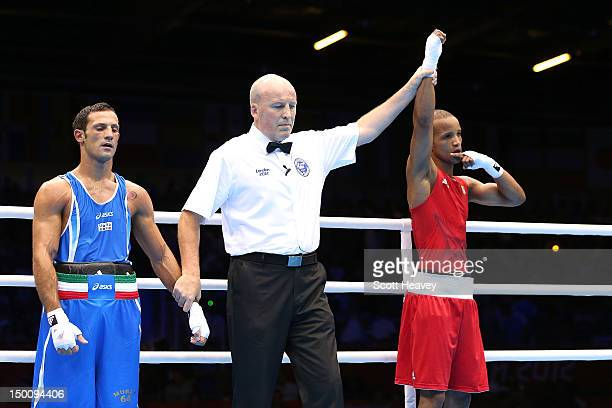 Roniel Iglesias Solotongo of Cuba reacts after he was declared the winner against Vincenzo Mangiacapre of Italy during the Men's Light Welter Boxing...