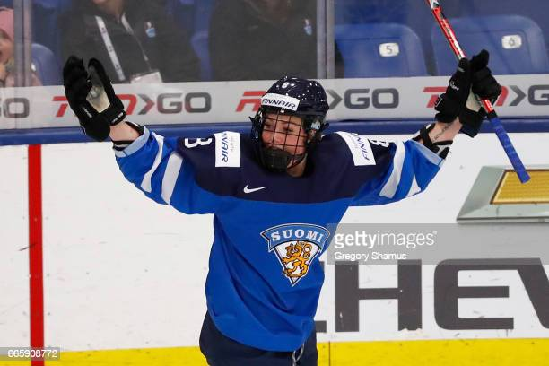 Ronja Savolainen of Finland celebrates her first period goal while playing Germany in the bronze medal game at the 2017 IIHF Woman's World...