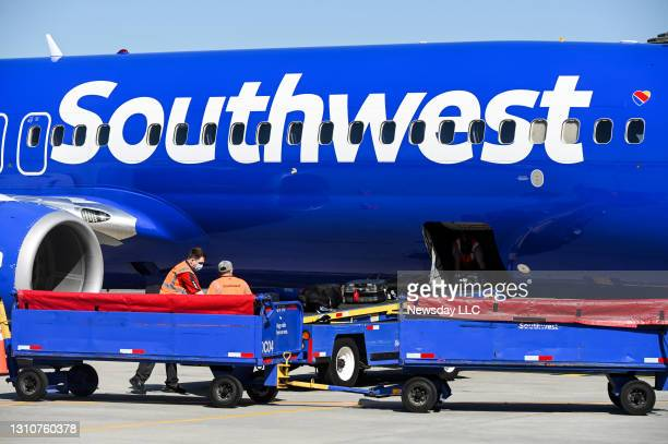 Ronkonkoma, N.Y. A Southwest Airlines flight logo is seen as the plane taxis to a gate at Long Island MacArthur Airport in Ronkonkoma, New York on...