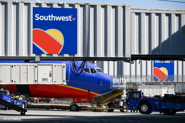 Ronkonkoma, N.Y. A Southwest Airlines flight taxis to a gate at Long Island MacArthur Airport in Ronkonkoma, New York on March 25, 2021.