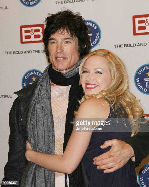 Ronn Moss and Adrienne Frantz attend the Guinness World Record's official validation of 'The Bold The Beautiful' at CBS Studios on May 18 2010 in Los...