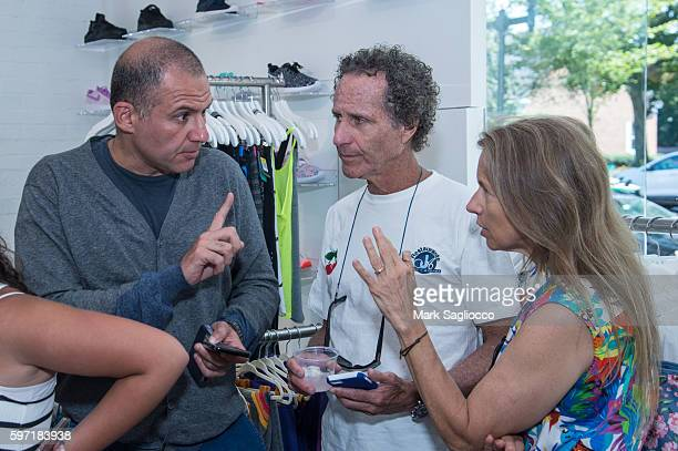 Ronn Torossian, Daniel Glass and Deborah Glass attend the Breakfast and Mimosas At Blue & Creamat Blue & Cream on August 28, 2016 in East Hampton,...