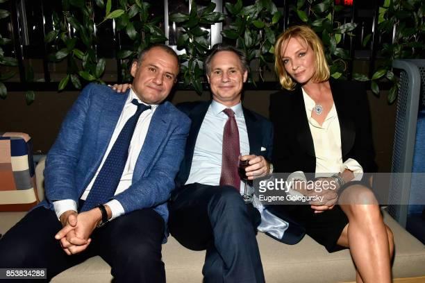 Ronn Torossian, Jason Binn and Uma Thurman attend the celebration of DuJour's fall cover star Uma Thurman at The Magic Hour at Moxy Times Square on...