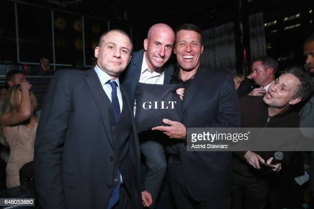 """Ronn Torossian, Jonathan Greller and author Tony Robbins attend Tony Robbins' Birthday celebration and book launch of """"UNSHAKEABLE"""" presented by..."""
