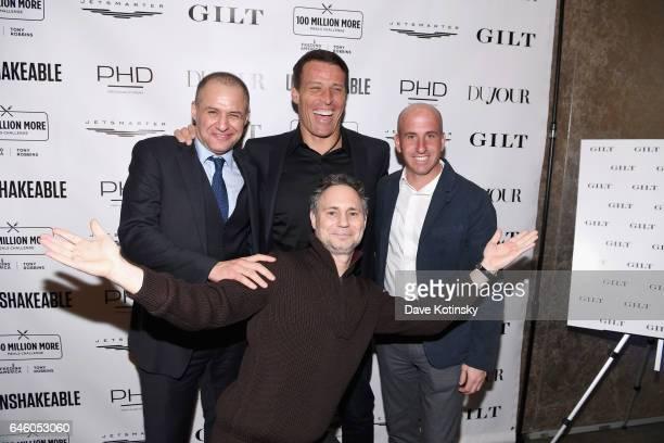 "Ronn Torossian, Tony Robbins, Jonathan Greller and Jason Binn attend Tony Robbins' Birthday celebration and book launch of ""UNSHAKEABLE"" presented by..."