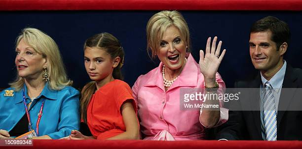 Ronna Romney Chloe Romney Ann Romney and Matt Romney sit in the VIP box during the third day of the Republican National Convention at the Tampa Bay...