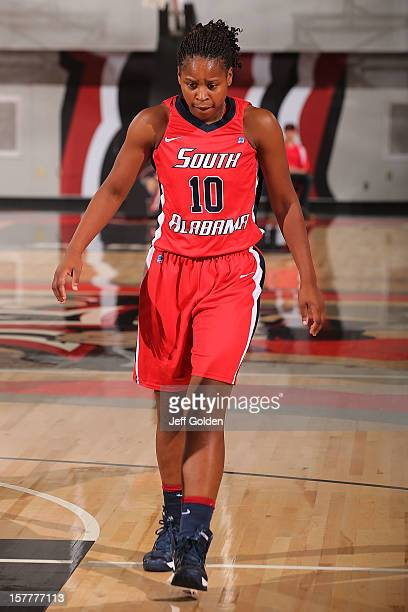 Ronneka Robertson of the South Alabama Jaguars walks up the court against the Detroit Titans at The Matadome on November 24 2012 in Northridge...