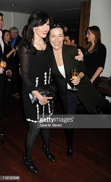 Ronni Ancona and Amanda Donohoe attend the i newspaper 100th issue anniversary party at the Century Club on March 15 2011 in London England