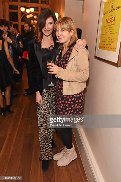 Ronni Ancona and Penny Smith attend the press night preshow reception for La Boheme at The Royal Opera House on January 10 2020 in London England