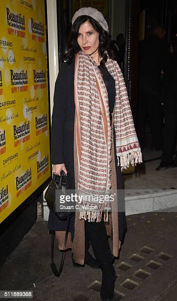Ronni Ancona arrives at The Carole King Musical Birthday Celebrations at Aldwych Theatre on February 23 2016 in London England