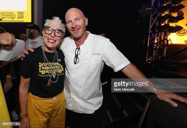 Ronni Kahn CEO and founder of OzHarvest poses with Chef Matt Moran during the Oz Harvest CEO Cookoff on March 19 2018 in Sydney Australia