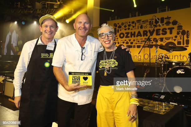 Ronni Kahn CEO and founder of OzHarvest poses with Chef Matt Moran and Richard Deutsch of Deloitte during the Oz Harvest CEO Cookoff on March 19 2018...