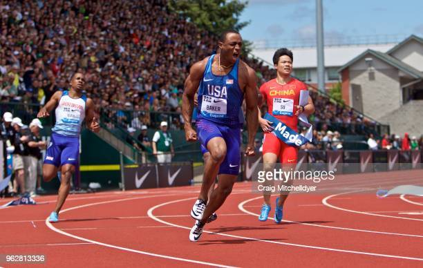 Ronnie Baker of the USA wins the men's 100 meters during the 2018 Prefontaine Classic at Hayward Field on May 26 2018 in Eugene Oregon
