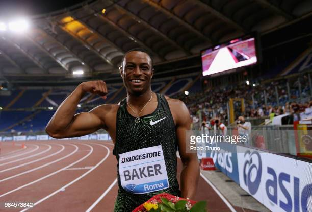 Ronnie Baker of USA celebrates after winning the men's 100m during the IAAF Golden Gala Pietro Mennea at Olimpico Stadium on May 31, 2018 in Rome,...