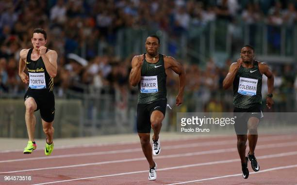 Ronnie Baker of USA wins the men's 100m during the IAAF Golden Gala Pietro Mennea at Olimpico Stadium on May 31, 2018 in Rome, Italy.