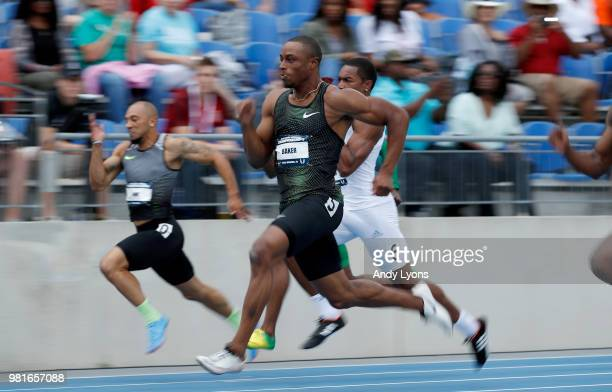 Ronnie Baker runs to victory in the semifinals of the Mens 100 Meter during day 2 of the 2018 USATF Outdoor Championships at Drake Stadium on June 22...