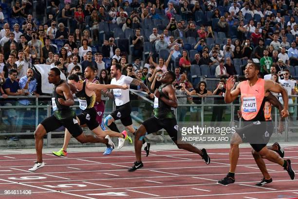 Ronnie Baker wins the men's 100m event of the IAAF Diamond League 2018 Golden Gala on May 31 2018 at the Comunal Stadio Olimpico in Rome