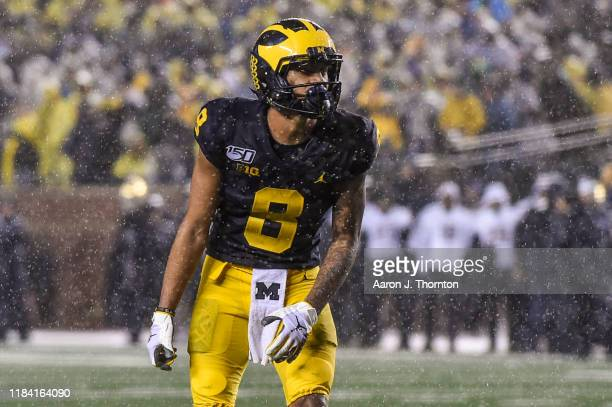 Ronnie Bell of the Michigan Wolverines waits for the snap during a college football game against the Notre Dame Fighting Irish at Michigan Stadium on...