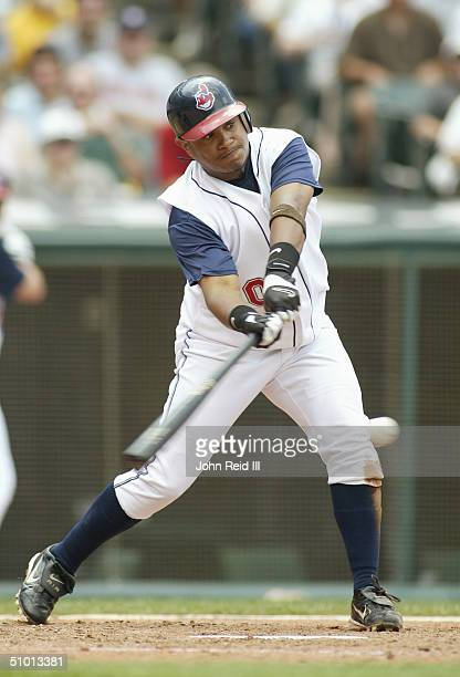 Ronnie Belliard of the Cleveland Indians bats against the Cincinnati Reds during the MLB game on June 13 2004 at Jacobs Field in Cleveland Ohio The...