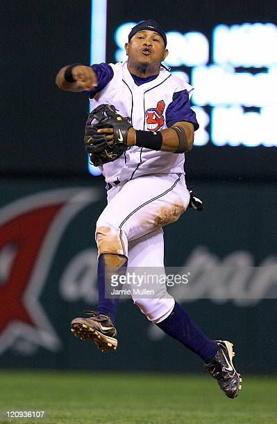 Ronnie Belliard of the Cleveland Indians makes a throw to first base during the eighth inning Saturday June 12against the Cincinnati Reds at Jacobs...