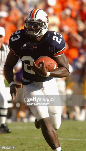 Ronnie Brown of the Auburn Tigers runs against the LSU Tigers in a game on September 18 2004 at JordanHare Stadium in Auburn Alabama