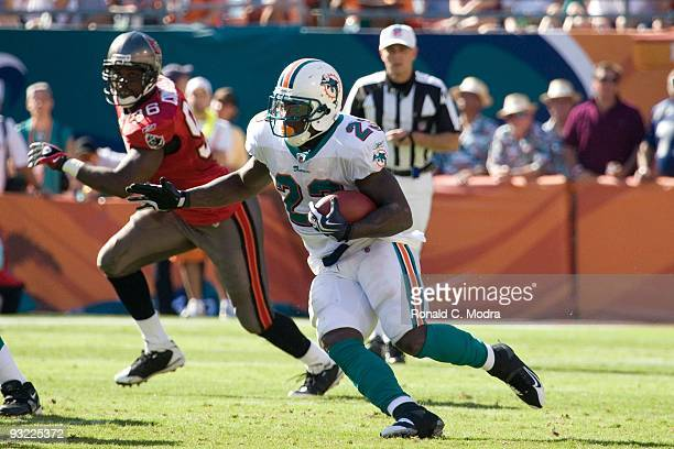 Ronnie Brown of the Miami Dolphins carries the ball during a NFL game against the Tampa Bay Buccaneers at Land Shark Stadium on November 15 2009 in...