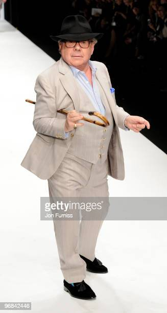Ronnie Corbett on the catwalk at the Fashion for Relief show for London Fashion Week Autumn/Winter 2010 at Somerset House on February 18, 2010 in...