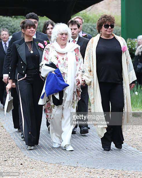 Ronnie Corbett's Wife, Anne and daughters Sophie and Emma Corbett arrive for the funeral of Ronnie Corbett at St John The Evangelist Church in...