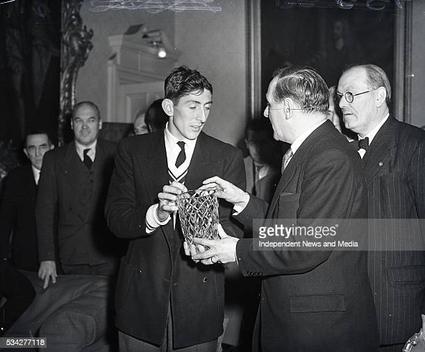 Ronnie Delaney at the Mansion House in Dublin in 1956 following his winning of the Olympic 1500 m. .