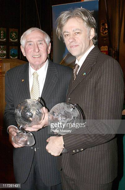 Ronnie Delany and Bob Geldof during Bob Geldof and Ronnie Delany Recieve Honorary Freedom of Dublin at Mansion House in Dublin Ireland