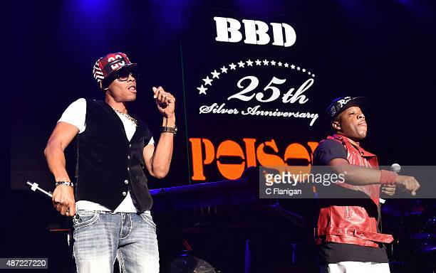 Ronnie Devoe and Michael Bivins of Bell Biv Devoe perform during KBLX Hot Summer Night at Concord Pavilion on September 6 2015 in Concord California