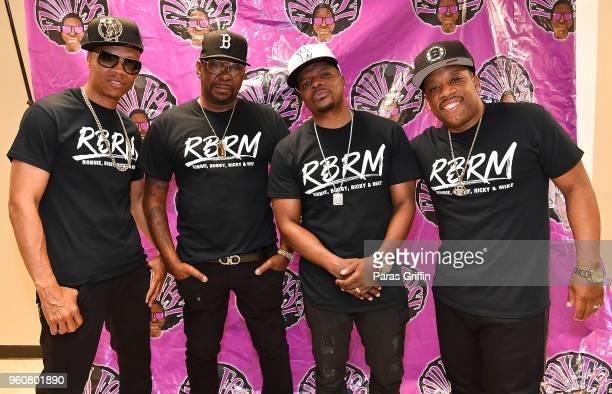Ronnie DeVoe Bobby Brown Ricky Bell and Michael Bivins of RBRM attend 2018 Funk Fest Tour at Wolf Creek Amphitheater on May 20 2018 in Atlanta Georgia