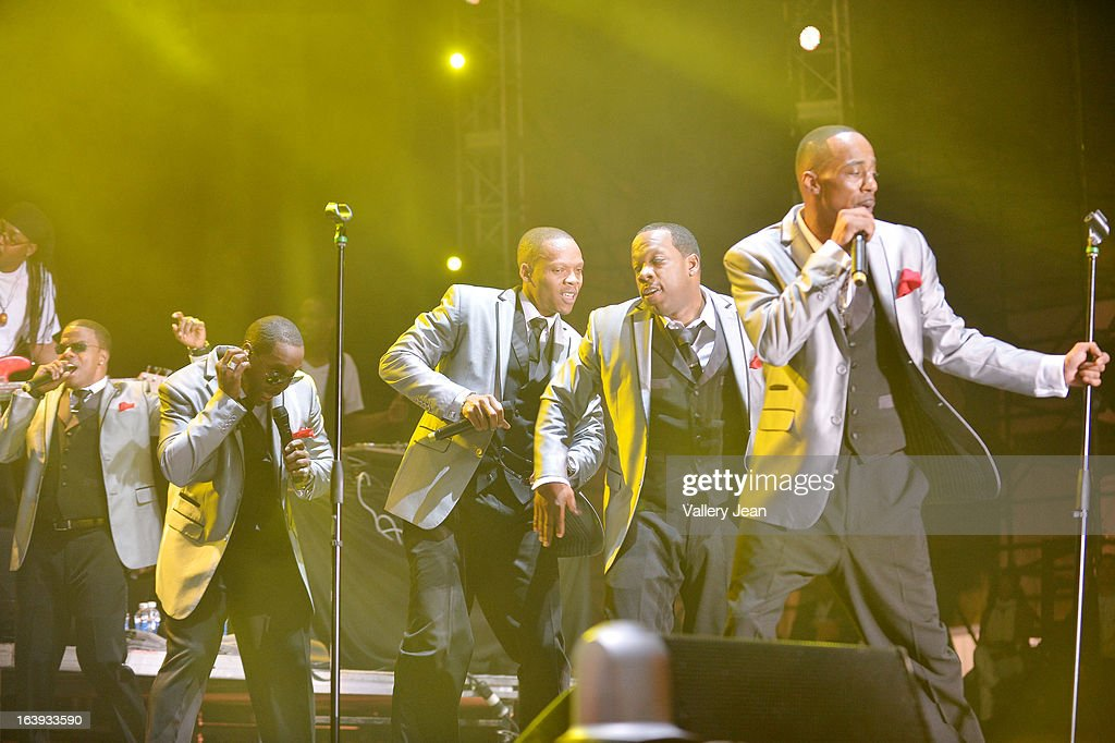 Ronnie DeVoe, Johnny Gill, Ricky Bell, Michael Bivins and Ralph Tresvant of New Edition performs at Miami Gardens' 8th Annual Jazz In The Gardens Music Festival - Day 1 at Sun Life Stadium on March 16, 2013 in Miami Gardens, Florida.