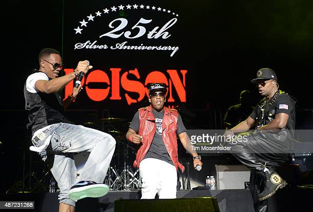 Ronnie Devoe Michael Bivins and Ricky Bell of Bell Biv Devoe perform during KBLX Hot Summer Night at Concord Pavilion on September 6 2015 in Concord...
