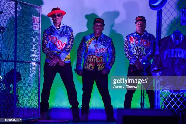 Ronnie DeVoe Michael Bivins and Ricky Bell of the group Bell Biv DeVoe perform onstage at The Soundboard Motor City Casino on January 15 2020 in...