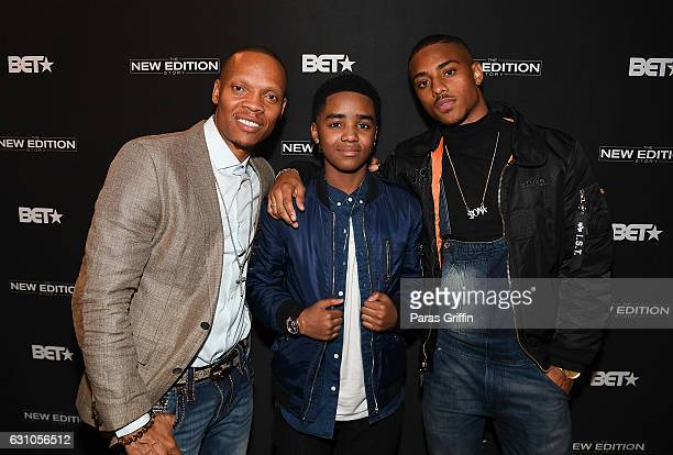 Ronnie Devoe Myles Truitt and Keith Powers attend BET's Atlanta screening of The New Edition Story at AMC Parkway Pointe on January 5 2017 in Atlanta...
