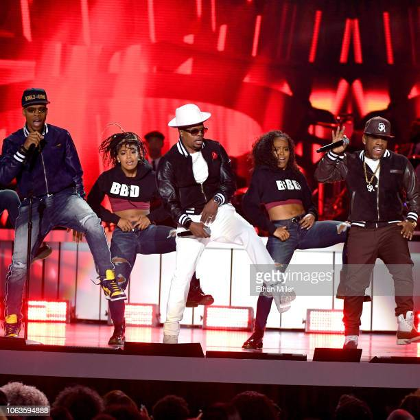 Ronnie DeVoe Ricky Bell and Michael Bivins of Bell Biv DeVoe perform onstage during the 2018 Soul Train Awards presented by BET at the Orleans Arena...