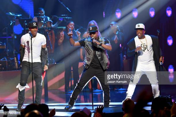 Ronnie DeVoe Ricky Bell and Michael Bivins of musical group Bell Biv DeVoe performs onstage during the 2018 Black Music Honors at Tennessee...
