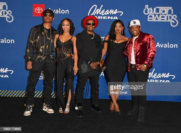 Ronnie DeVoe Shamari FearsDeVoe Ricky Bell Teasha Bivens and Michael Bivins attend the 2018 Soul Train Awards at the Orleans Arena on November 17...