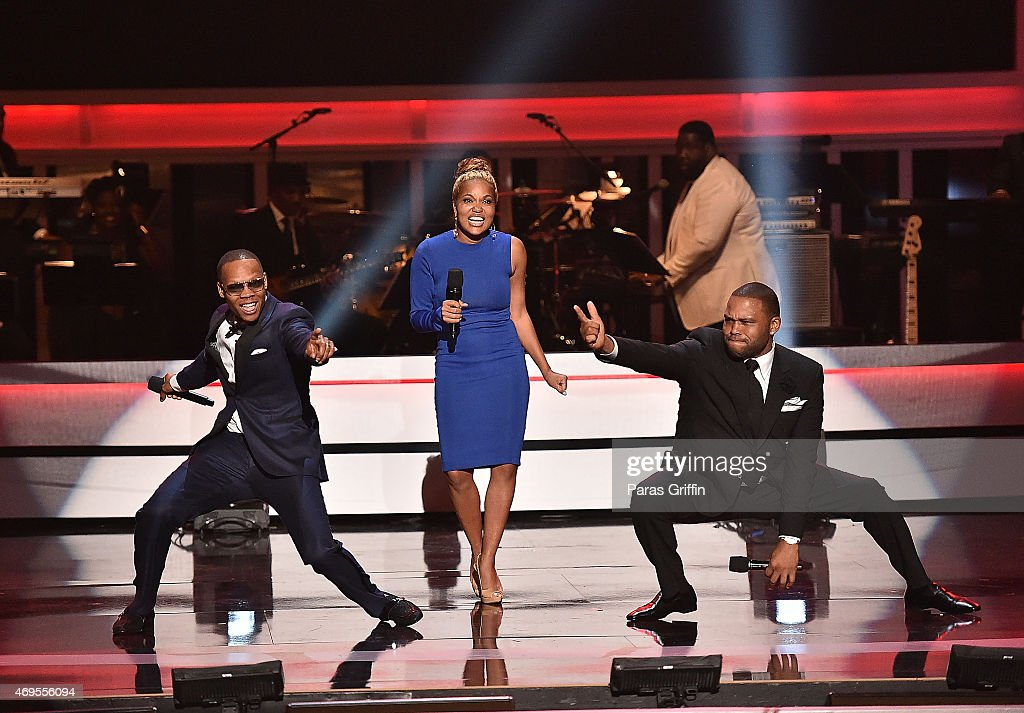Ronnie DeVoe, Tracy Nicole, and Anthony Anderson onstage at the UNCF 'An Evening of Stars' at Boisfeuillet Jones Atlanta Civic Center on April 12, 2015 in Atlanta, Georgia.