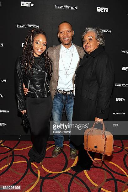 Ronnie Devoe with wife Shamari Fears DeVoe and his mother Flo Devoe at BET's Atlanta screening of The New Edition Story at AMC Parkway Pointe on...