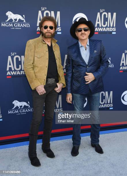 Ronnie Dunn and Kix Brooks of Brooks and Dunn attends the 54th Academy Of Country Music Awards at MGM Grand Garden Arena on April 07 2019 in Las...
