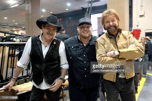 Ronnie Dunn of Brooks and Dunn Luke Combs and Kix Brooks of Brooks and Dunn attend the 54th Academy Of Country Music Awards at MGM Grand Garden Arena...