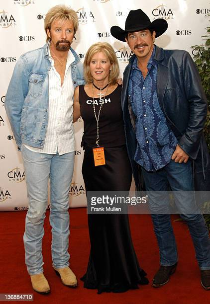 Ronnie Dunn wife Janine Dunn and Kix Brooks during 37th Annual CMA Awards Arrivals at The Grand Ole Opry in Nashville TN United States