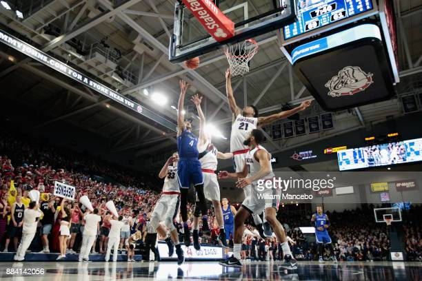 Ronnie Harrell of the Creighton Bluejays puts up a shot against Killian Tillie Jacob Larsen Rui Hachimura and Silas Melson of the Gonzaga Bulldogs in...