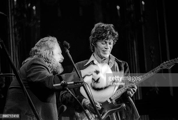 Ronnie Hawkins and Robbie Robertson of The Band perform during The Last Waltz at Winterland on November 25 1976 in San Francisco California