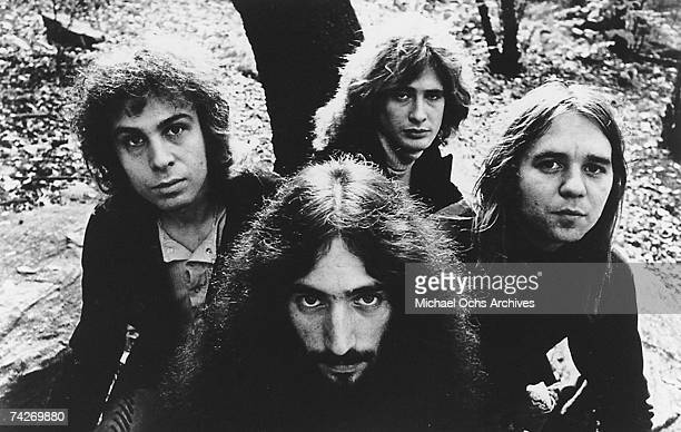 Ronnie Jamees Dio Mickey Lee Soule Gary Driscoll and David Feinstein of the rock and roll band Elf pose for a portrait in circa 1972