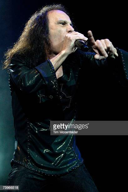 Ronnie James Dio and Heaven and Hell perform in support of the bands 'Heaven and Hell Live 2007' release at the HP Pavilion on April 24 2007 in San...